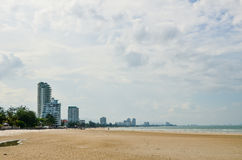 Hua Hin beach in cloudy day. Stock Photo