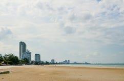Hua Hin beach in cloudy day. Stock Photo