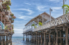 Hua Hin Beach Encroaching Restaurant Pier Royalty Free Stock Photos