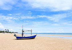 Hua Hin beach with fishing boat Royalty Free Stock Photos