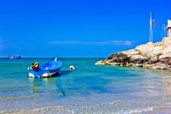 Hua hin beach. The green sea, the sky is blue, fishing boat Royalty Free Stock Image