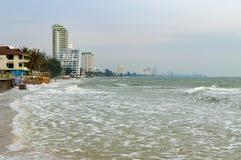 Hua Hin beach at high tide. Resort hotels are on the coast, Thailand Stock Photos