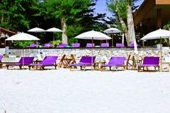Hua hin beach prachuap khiri khan thaiiand. A beach is beautiful, green tree, sunshade Stock Photo