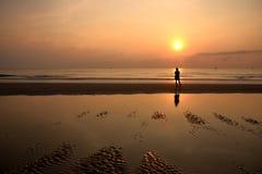 Hua hin beach. Sun set on hua hin beach thailand stock image