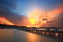 Hua Hin beach in twilight time Stock Image