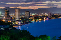 Hua Hin city in twilight, Thailand. With cloud Stock Images