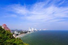 Hua Hin coast line from bird eye view Royalty Free Stock Photo