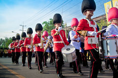 HUA HIN- DECEMBER 5: Soldiers in parade uniforms to celebrate fo Royalty Free Stock Photo