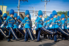 HUA HIN- DECEMBER 5: Soldiers in parade uniforms to celebrate Royalty Free Stock Photos
