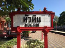 Hua hin district. Hua hin railway station stock image