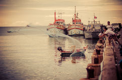 Hua Hin fishing boat port Royalty Free Stock Photo