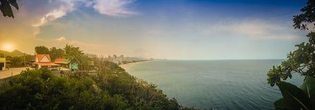 Hua Hin panorama view including sandy beach, green mountain, lan Royalty Free Stock Photography