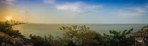 Hua Hin panorama view including sandy beach, green mountain, lan Stock Images