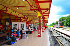 Hua Hin railway station. Photo exhibition of His Majesty King Bhumibol AdulyadejHua are temporary exhibited at Hua Hin railway station during August 8 - December Royalty Free Stock Photo