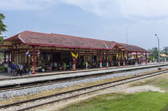 Hua Hin railway station. Is one of the oldest in Thailand and its main feature is The Royal Waiting Room that used to welcome King and his court when they were Royalty Free Stock Image