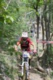 El competir con en declive de la bici de montaña Fotos de archivo libres de regalías