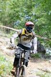 El competir con en declive de la bici de montaña Imagenes de archivo