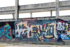 HUA HIN, TAILANDIA - May30,2015: Vecchia fabbrica abbandonata graffiti s Immagine Stock Libera da Diritti