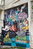 HUA HIN, TAJLANDIA - May30,2015: Graffiti porzucająca stara fabryczna struktura Obraz Stock