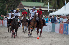 Polo Riders Horses Play Action. HUA HIN, THAILAND - APRIL 25: India Polo Team (white-red) plays against Stock Images