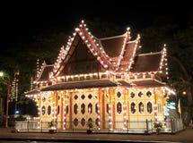 HUA HIN ,THAILAND - Dec11,2015 : king pavilion decorative night. Lights at Huahin railway station,thailand Royalty Free Stock Photo