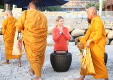 HUA HIN, THAILAND - DEC 28:Victoria Azarenka of Belarus pay respect to a monks. Before tennis Match  Stock Photo