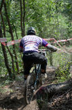 Downhill mountain bike racing Royalty Free Stock Photos