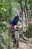 Downhill mountain bike racing Royalty Free Stock Image