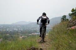 Downhill mountain bike racing Royalty Free Stock Photos