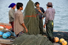 Hua Hin, Thailand: Fisherman with Nets Royalty Free Stock Images