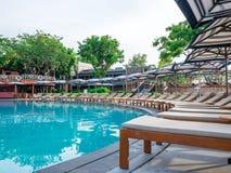 Hua Hin Thailand - Juni 23, 2018: Fem-stjärnan är Hua Hin Marriott Resort & Spa en av mest fin lyxiga hotell för Hua Hin ` s, Pra arkivbild