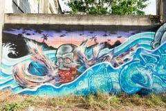 HUA HIN, THAILAND - May30,2015: Graffiti verlassene alte Fabrik Lizenzfreies Stockbild