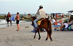 Hua Hin, Thailand: Rider with Horse on the Beach Stock Images