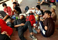 Hua Hin, Thailand: Students at Railway Station Royalty Free Stock Photos