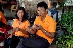 Hua Hin Thailand: Thailändskt sticka för massörer Arkivbilder