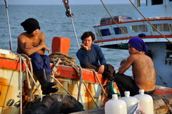 Hua Hin, Thailand:  Three Tai Fishermen Royalty Free Stock Photos