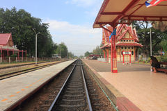 HUA-HIN train station, Thailand. Railway of ancient train station in Thailand Royalty Free Stock Image