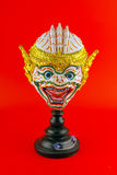 Hua Khon Ancient Thai Show Head Mask isolated on red backgroun Stock Photos
