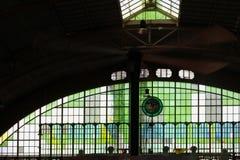 Hua Lamphong MRT Station or Bangkok Railway Station. Green interior design stained glass at Hua Lamphong MRT Station or Bangkok Railway Station in Bangkok Stock Photography