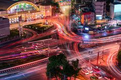 Hua Lamphong Railway Station of Bangkok City, Thailand. Cityscape of Transit Terminal Center in Bangkok, Travel and Destination.  stock image