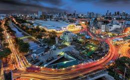 Hua Lamphong Railway Station nel tramonto Bangkok, Tailandia 2016 Fotografia Stock