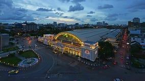 Hua Lamphong Station timelapse day to night, Bangkok, Thailand.  stock video