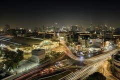 Hua Lampong bij Nacht stock foto's
