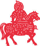 Hua Mu-lan. Rides on horse in traditional chinese paper cut style Royalty Free Stock Photography