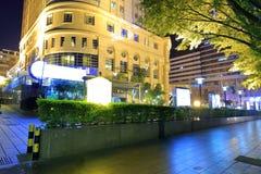 Huaan针叶树国际饭店夜视域 免版税图库摄影