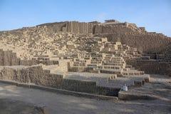 Huaca Pucllana of Huaca Juliana, een grote adobe en een kleipiramide royalty-vrije stock fotografie