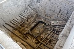 Huaca Rajada Królewscy grobowowie władyka Sipan Peru zdjęcia stock