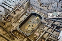 Huaca Rajada, las tumbas reales de Sipan Chiclayo, Perú imágenes de archivo libres de regalías