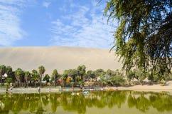Huacachina在阿塔卡马沙漠,伊卡大区,秘鲁绿洲  免版税库存图片