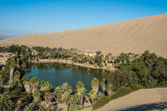 Huacachina lagoon in the peruvian coast at Ica Peru Stock Image